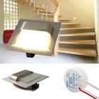 5er Set - LED Edelstahl Treppenbeleuchtung Wandleuchte, Typ: Quadrat warm weiss