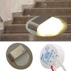 10er Set - LED Edelstahl Treppenbeleuchtung Wandleuchte, Typ: Rund, warm weiss