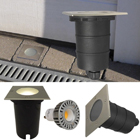 LED Bodeneinbaustrahler GU10 Fassung 230V Quadrat, 5 W warm weiss